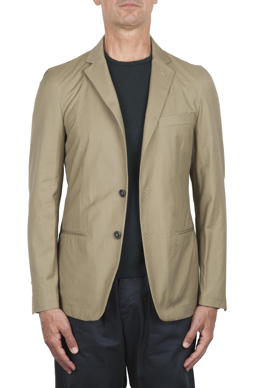 SBU 02861_2020SS Single breasted beige linen blended blazer 01