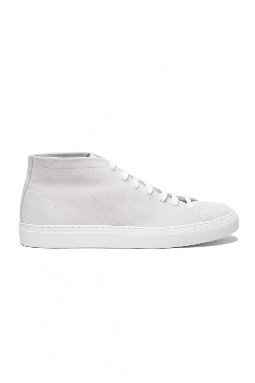 SBU 02863_2020SS Sneakers stringate alte in pelle scamosciata bianche 01