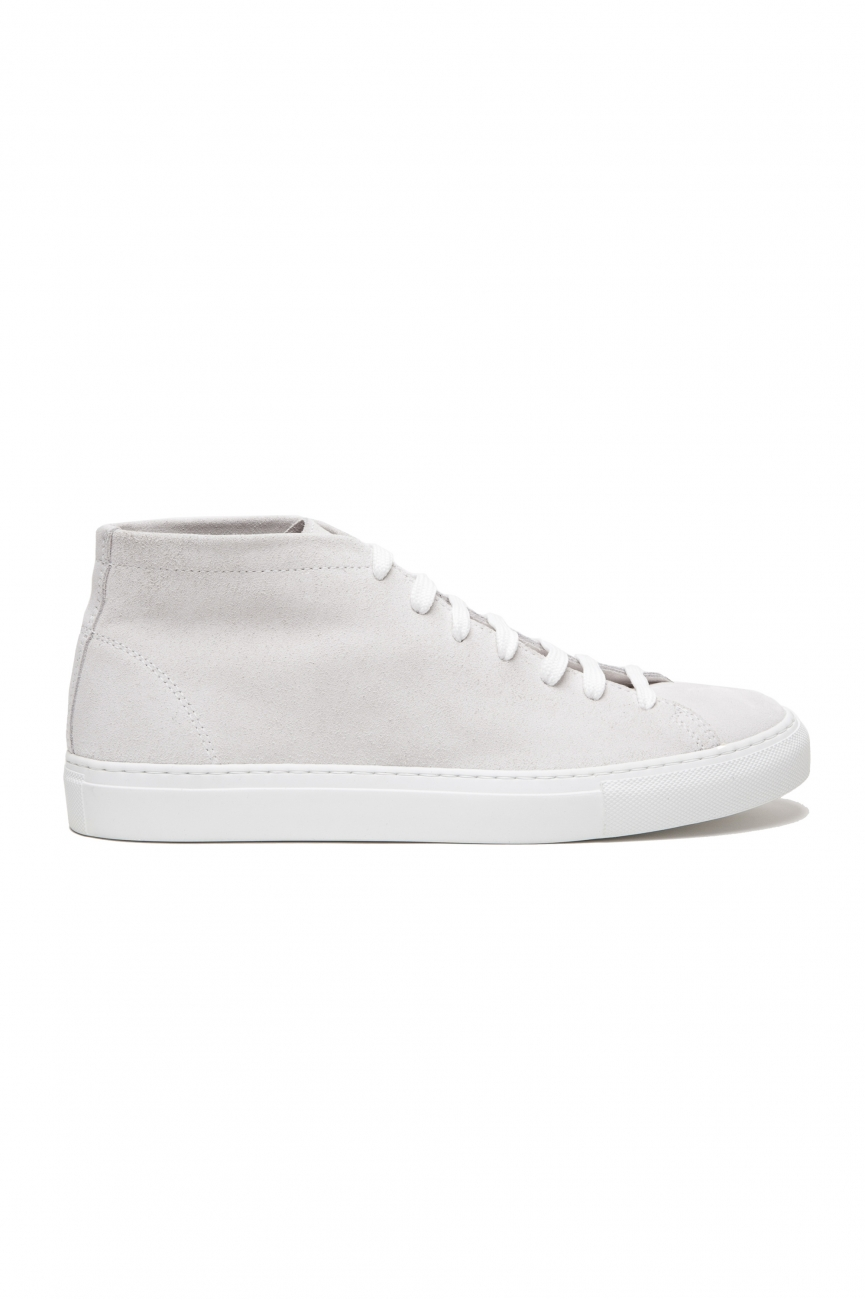 SBU 02863_2020SS White mid top lace up sneakers in suede leather 01