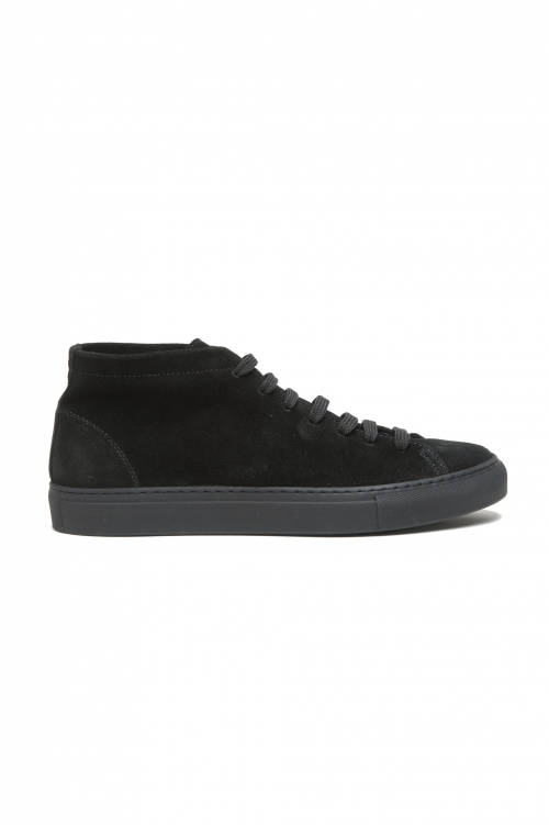 SBU 02865_2020SS Black mid top lace up sneakers in suede leather 01