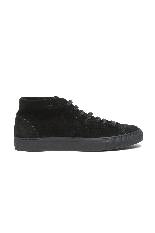 SBU 02865_2020SS Baskets noires à lacets mi-hautes en cuir suédé 01