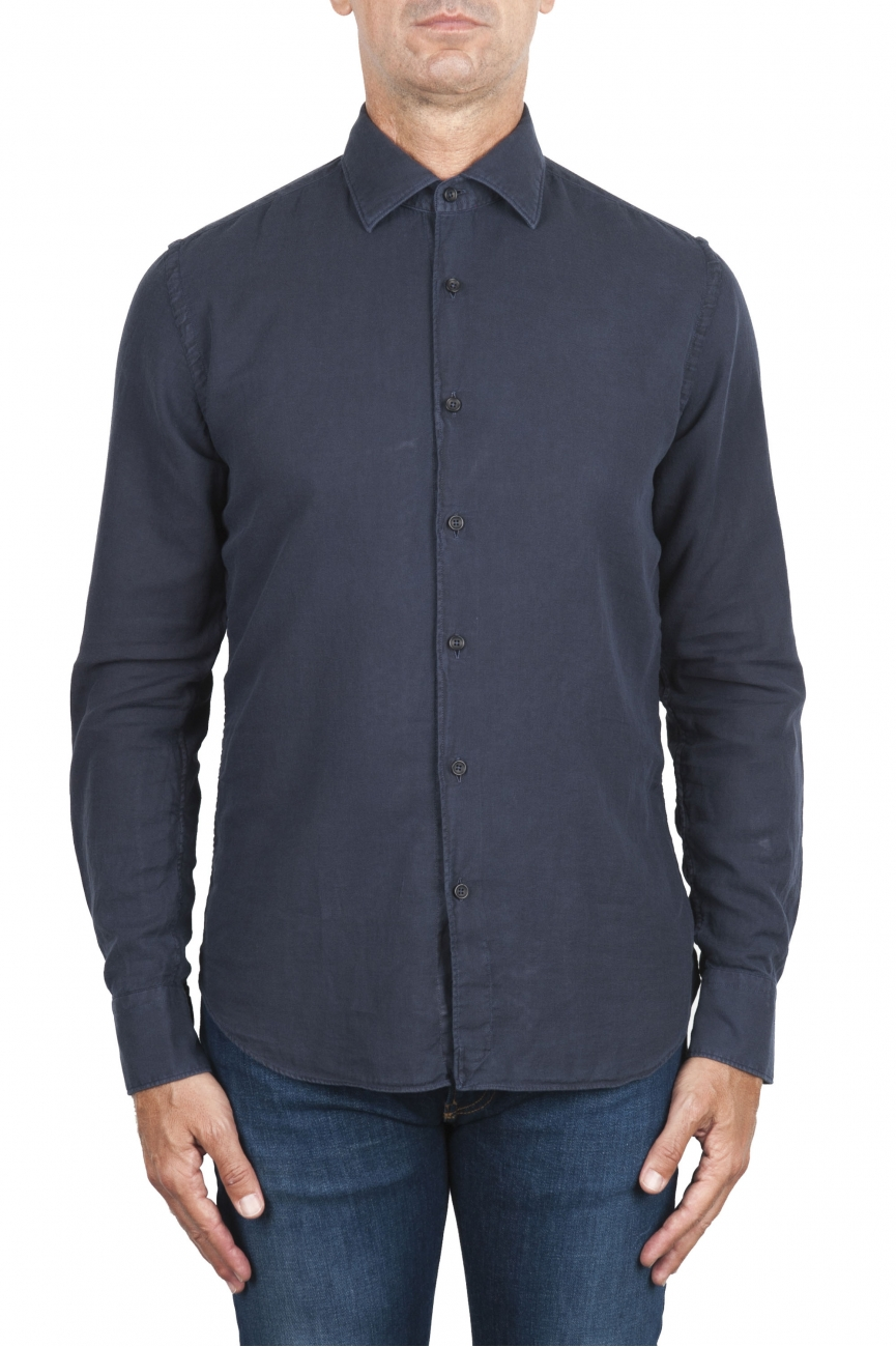 SBU 02900_2020AW Camicia in twill di cotone blu navy 01