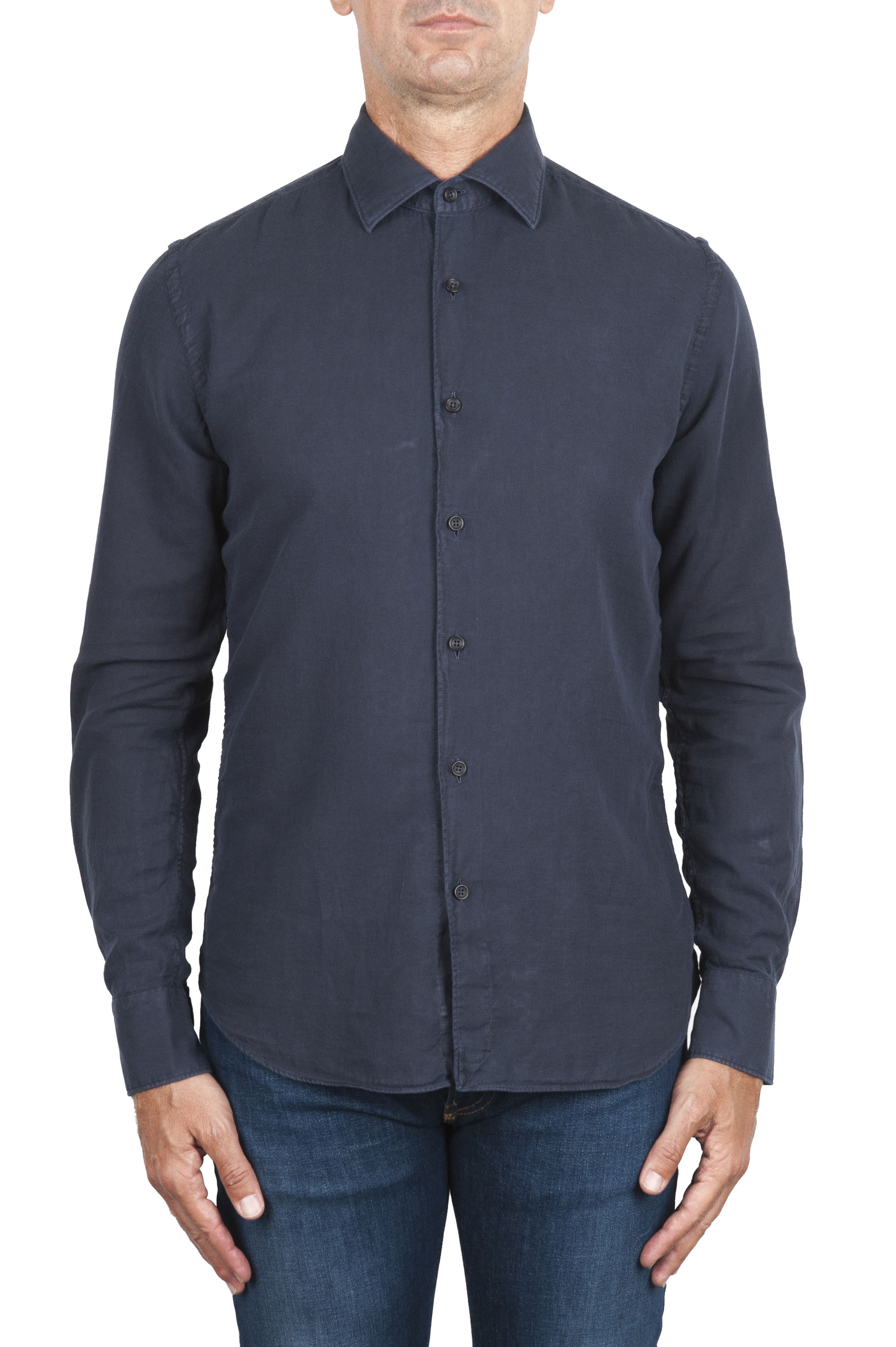 SBU 02900_2020AW Blue navy cotton twill shirt 01