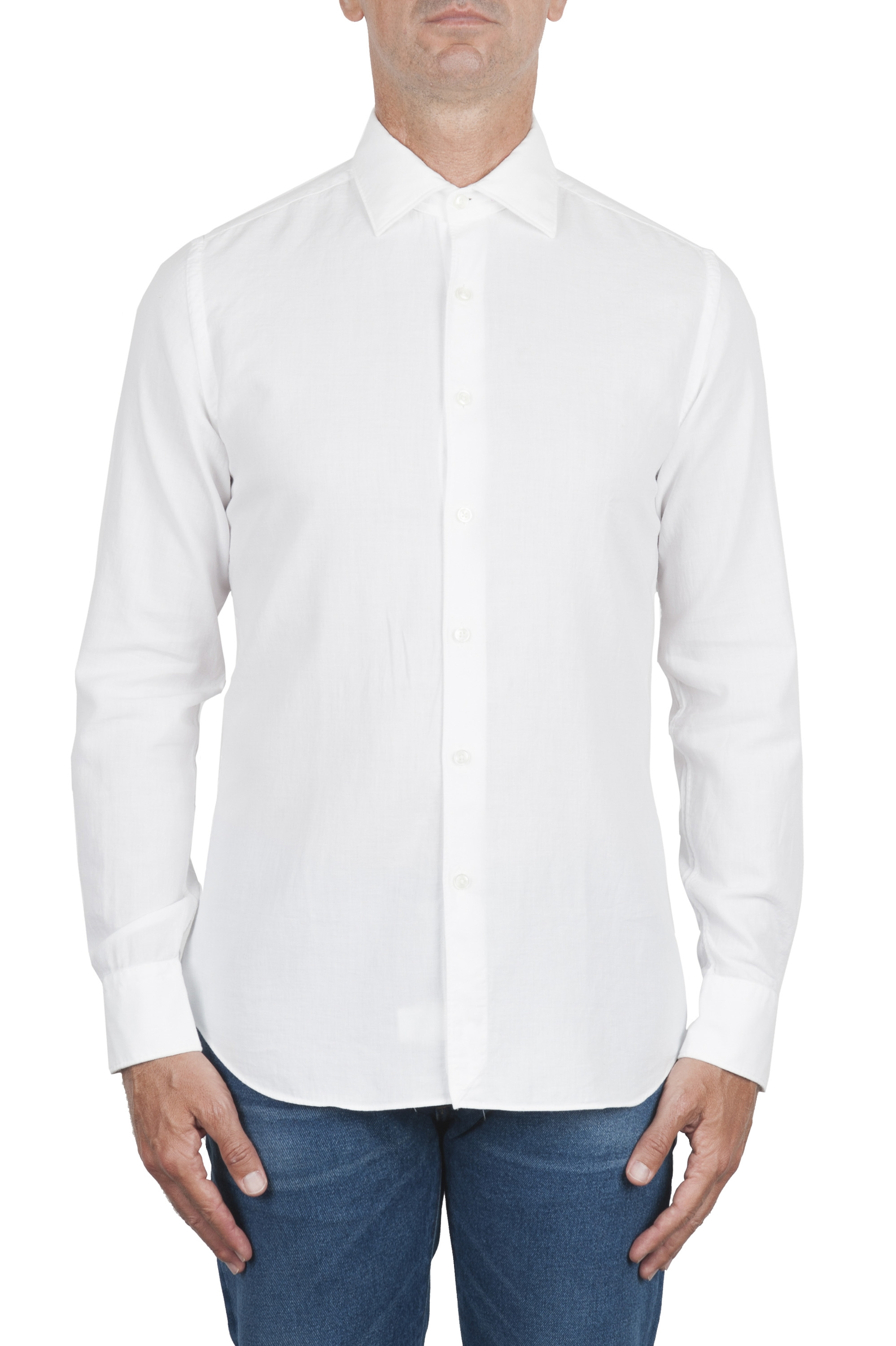 SBU 02901_2020AW White cotton twill shirt 01
