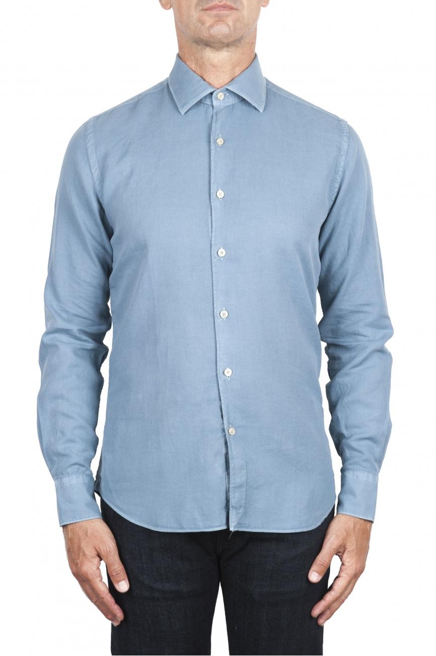 SBU 02902_2020AW Camicia in twill di cotone blu 01