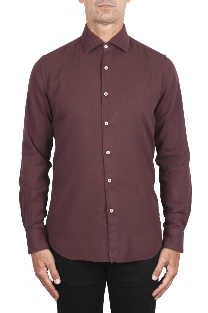 SBU 02903_2020AW Camisa de sarga de algodón rojo oscuro 01
