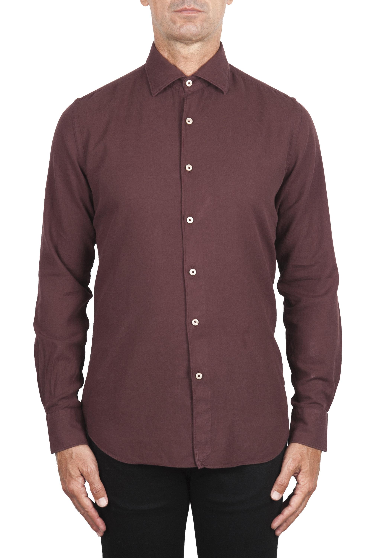 SBU 02903_2020AW Dark red cotton twill shirt 01
