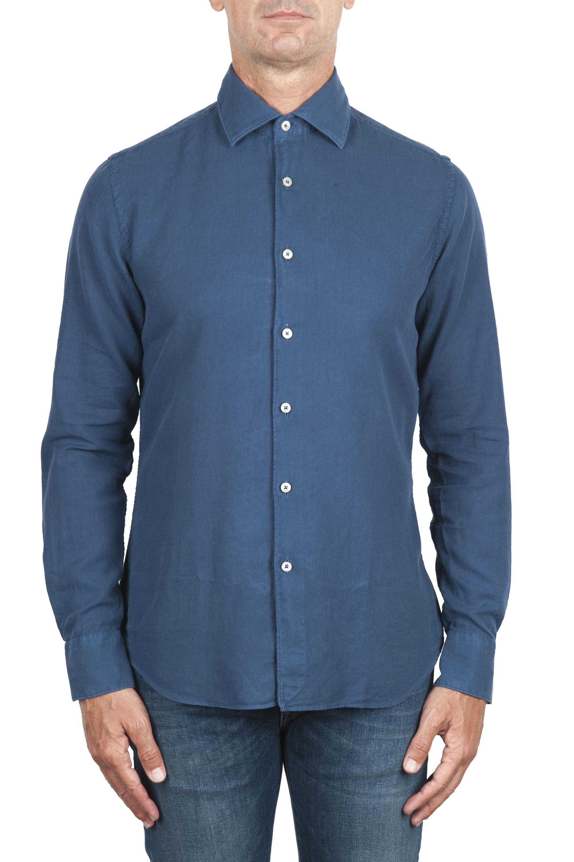 SBU 02905_2020AW Camisa de sarga de algodón índigo 01