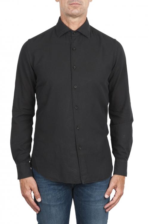 SBU 02908_2020AW Camicia in twill di cotone nera 01