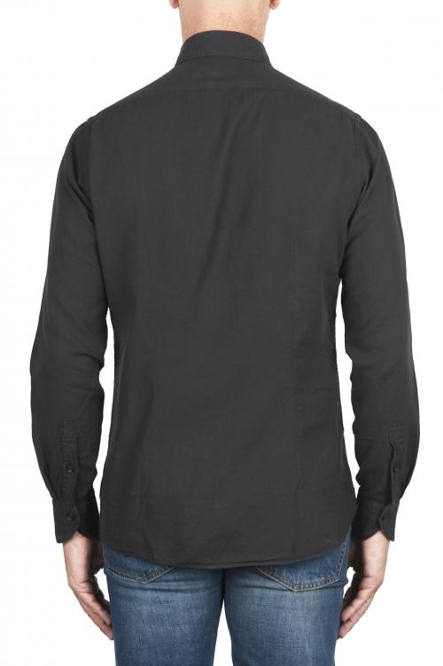 SBU 02908_2020AW Camisa de sarga de algodón negra 01