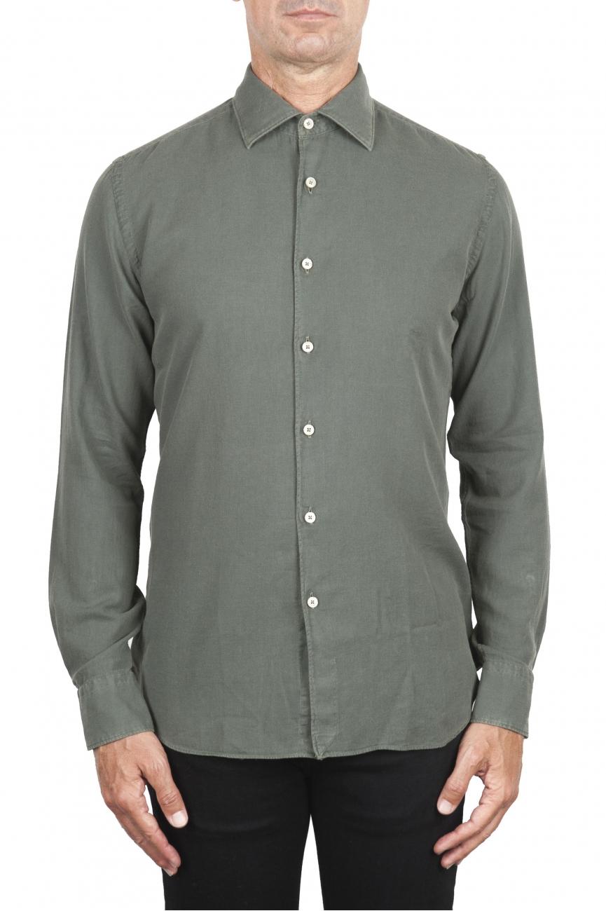 SBU 02909_2020AW Camicia in twill di cotone verde 01