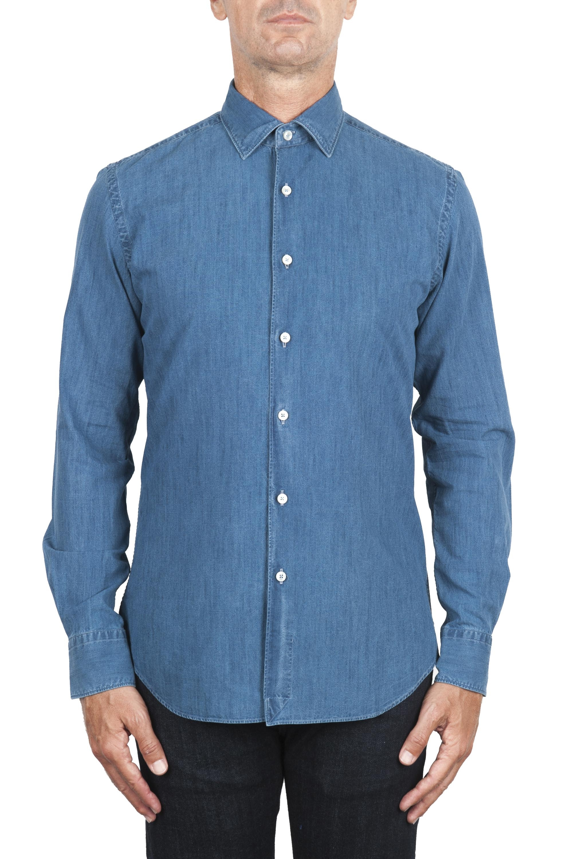 SBU 02910_2020AW Pure indigo dyed blue cotton denim shirt 01