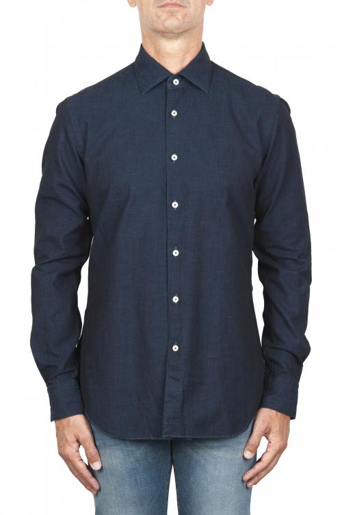 SBU 02911_2020AW Natural indigo dyed classic blue cotton denim shirt 01