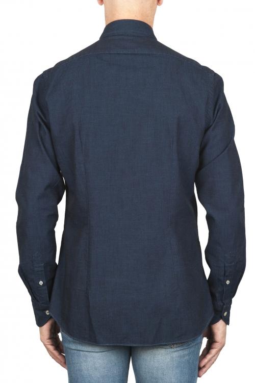 SBU 02911_2020AW Camicia classica in cotone tinta con indaco naturale blue 01
