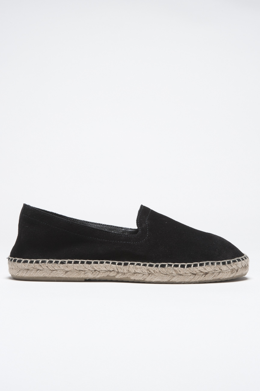 SBU - Strategic Business Unit - Original Black Suede Leather Espadrilles Rubber Sole