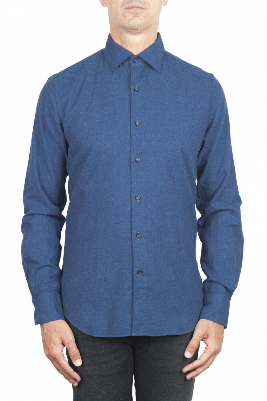 SBU 02912_2020AW Plain soft cotton indigo flannel shirt 01