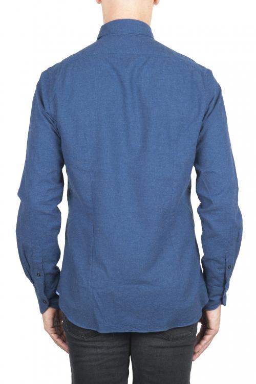 SBU 02912_2020AW Camicia in flanella di cotone tinta unita indaco 01