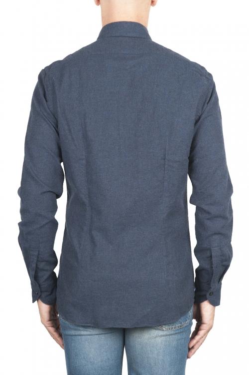 SBU 02914_2020AW Camicia in flanella di cotone tinta unita blu navy 01