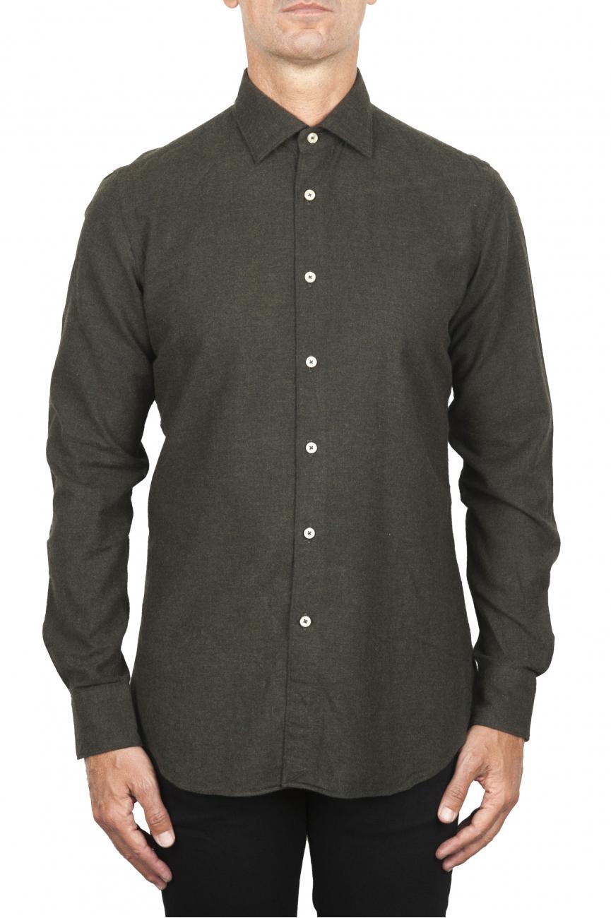 SBU 02915_2020AW Classic green cotton flannel shirt 01
