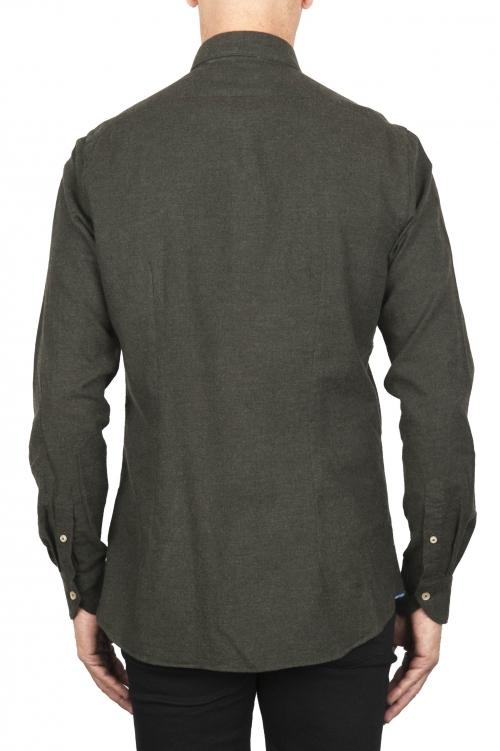SBU 02915_2020AW Camisa clásica de franela de algodón verde 01