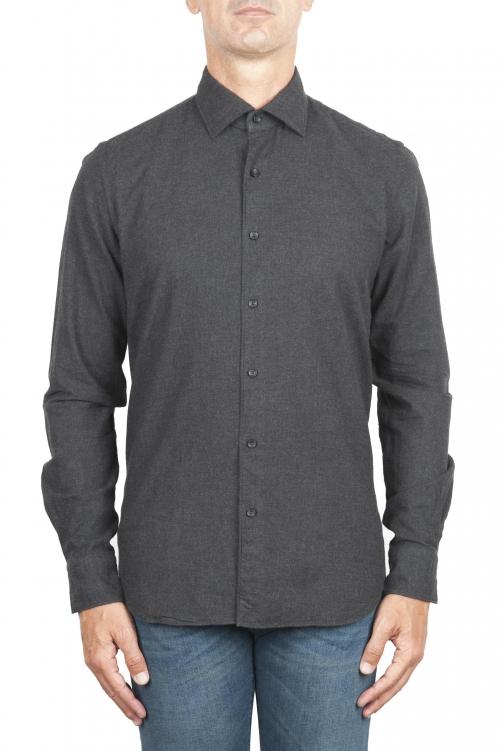 SBU 02916_2020AW プレーンコットングレーのフランネルシャツ 01