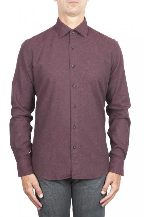SBU 02917_2020AW ボルドーのソリッドカラーの綿のフランネルシャツ 01