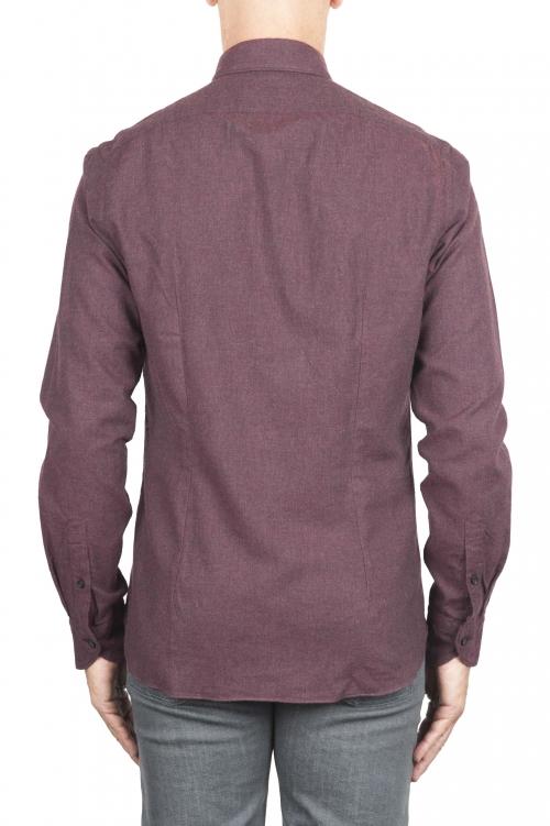 SBU 02917_2020AW Camicia in flanella di cotone tinta unita Bordeaux 01