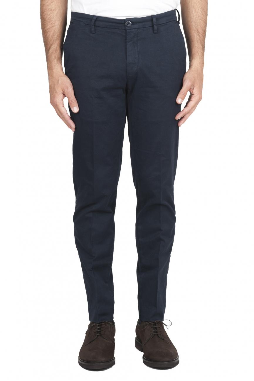 SBU 02918_2020AW Classic chino pants in blue stretch cotton 01