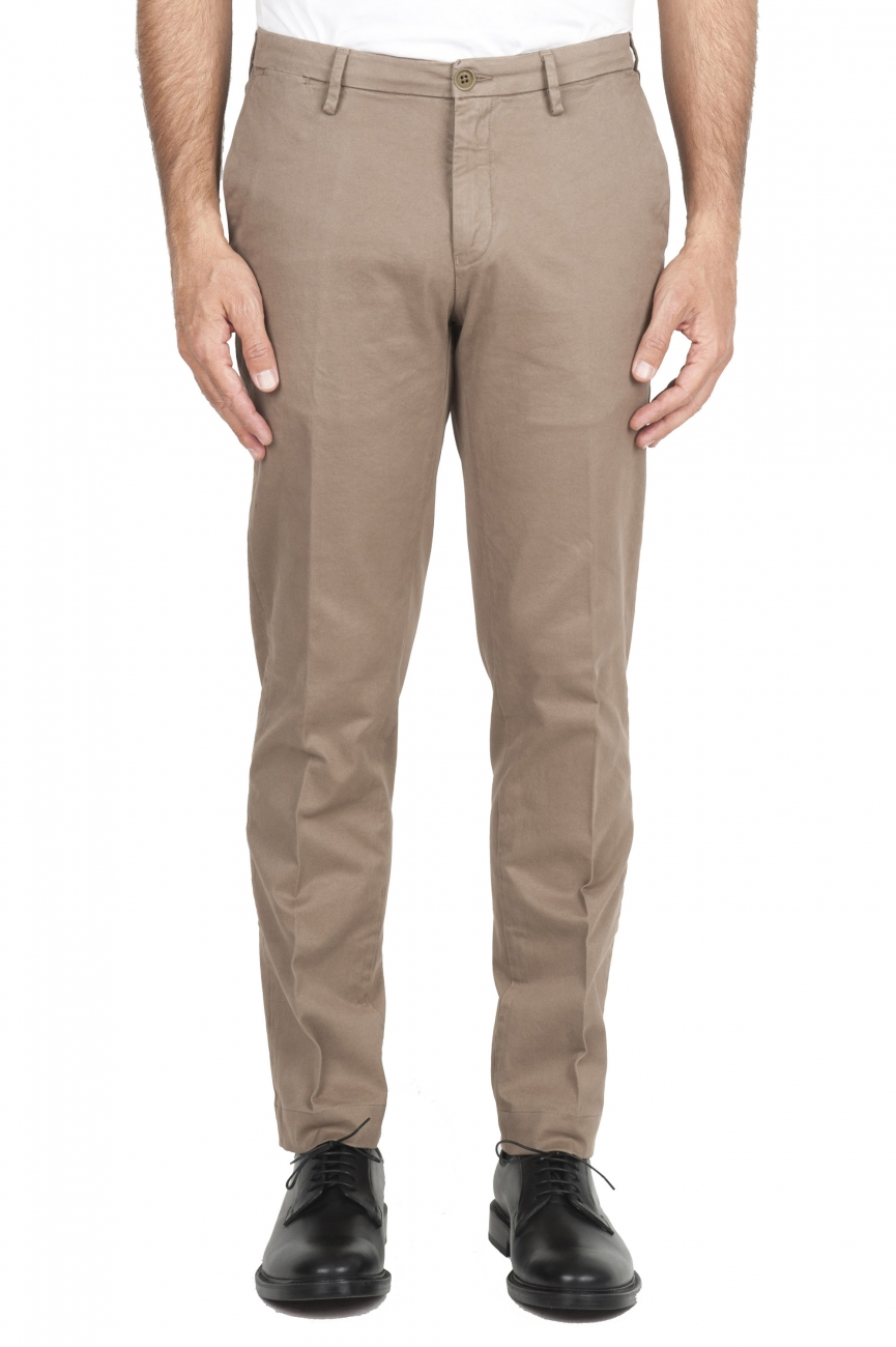 SBU 02919_2020AW Classic chino pants in beige stretch cotton 01