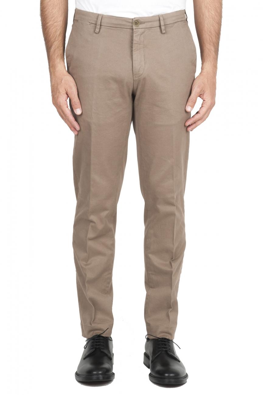 SBU 02919_2020AW Pantalones chinos clásicos en algodón elástico beige 01