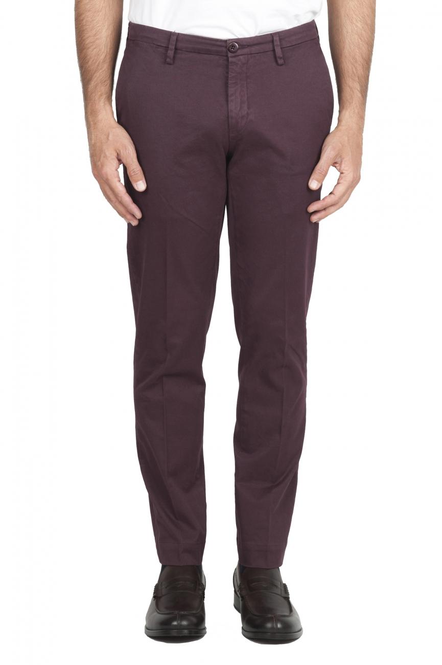 SBU 02920_2020AW Pantalon chino classique en coton stretch rouge 01
