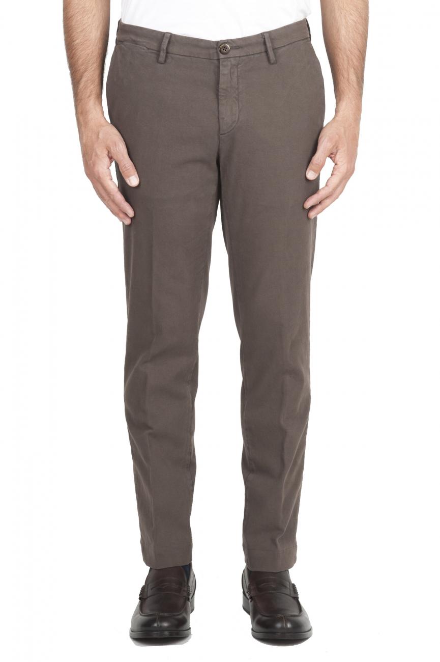 SBU 02924_2020AW Pantalon chino classique en coton stretch marron 01