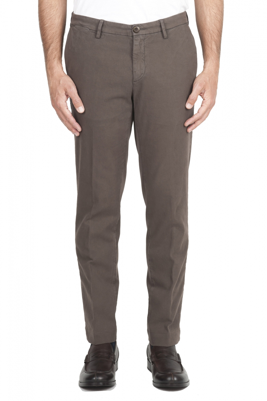 SBU 02924_2020AW Pantaloni chino classici in cotone stretch marrone 01