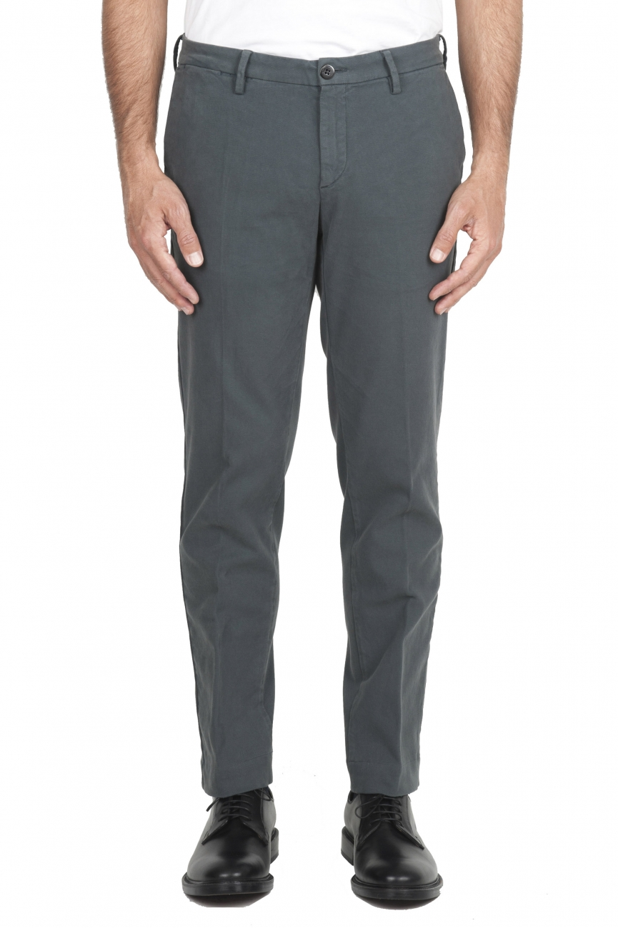 SBU 02925_2020AW Classic chino pants in grey stretch cotton 01