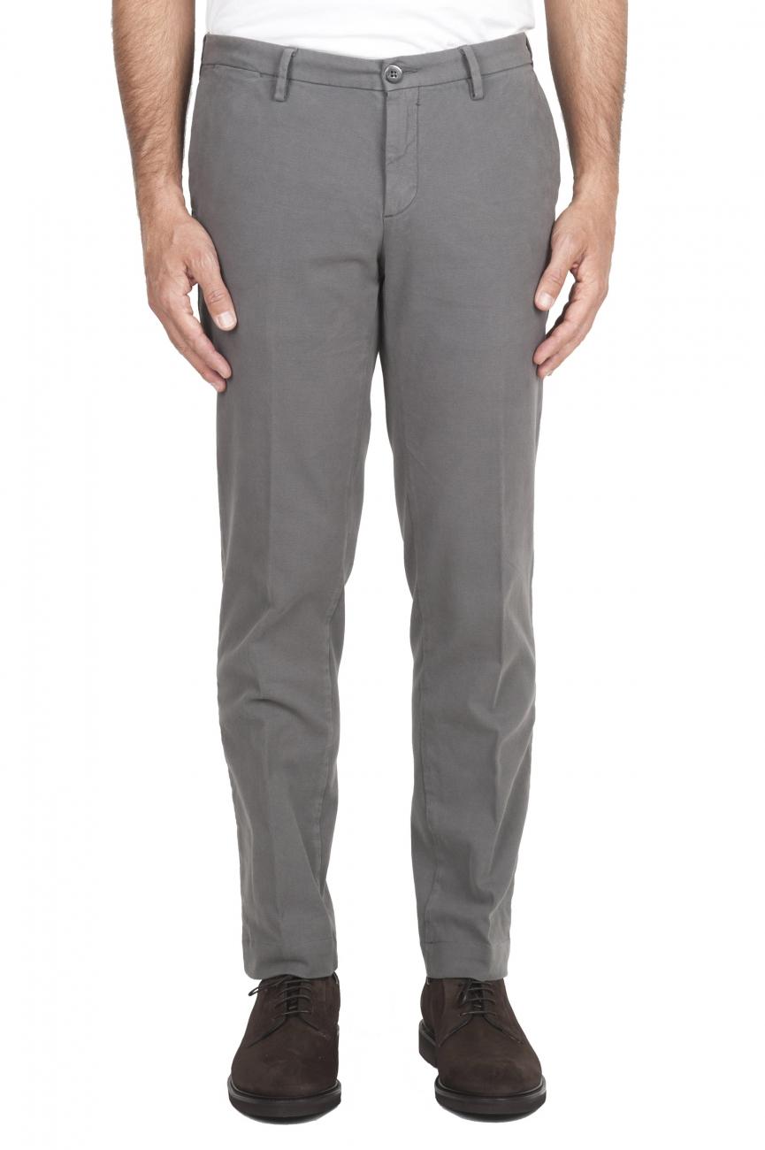 SBU 02927_2020AW Pantalon chino classique en coton stretch gris clair 01