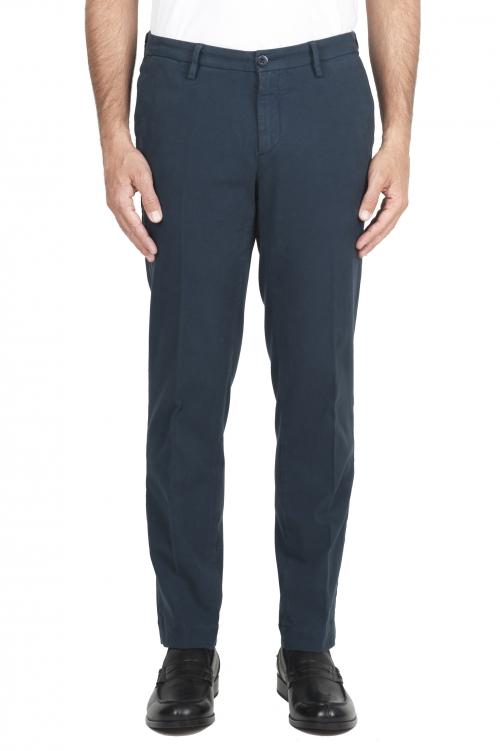 SBU 02928_2020AW Pantaloni chino classici in cotone stretch blu 01