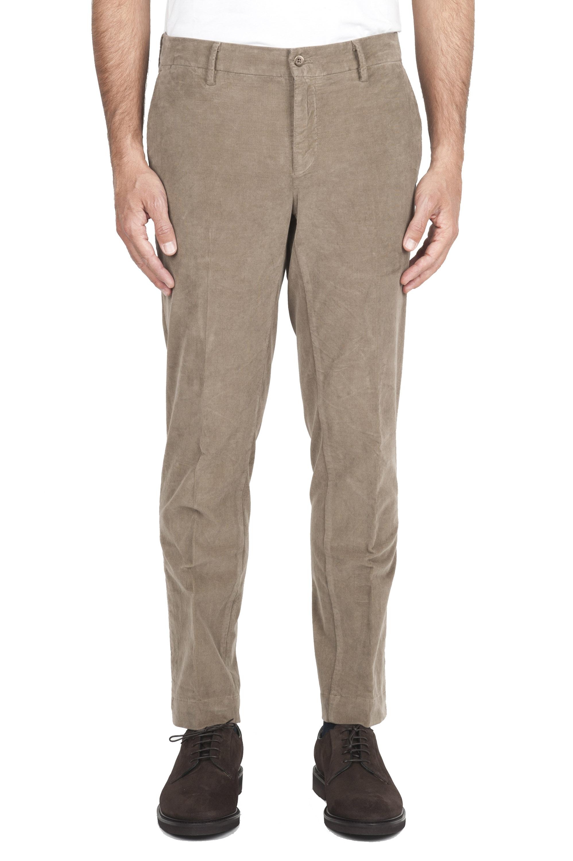 SBU 02930_2020AW Pantalones chinos clásicos en algodón elástico beige 01