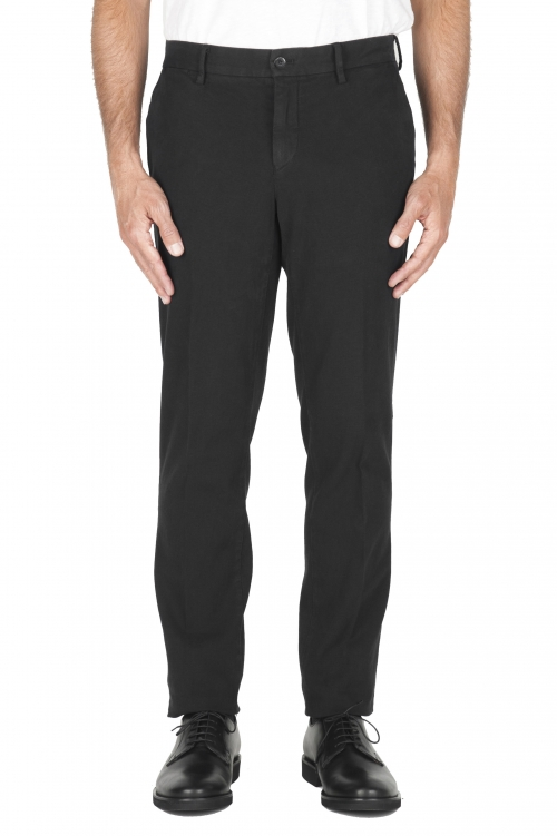 SBU 02934_2020AW Pantalon chino oeil Perdrix en coton stretch noir 01