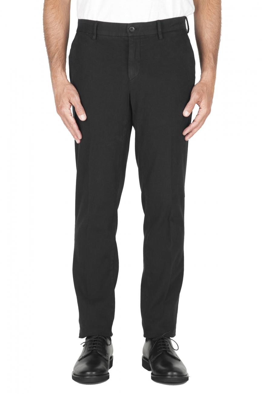 SBU 02934_2020AW Partridge eye chino pant in black stretch cotton 01