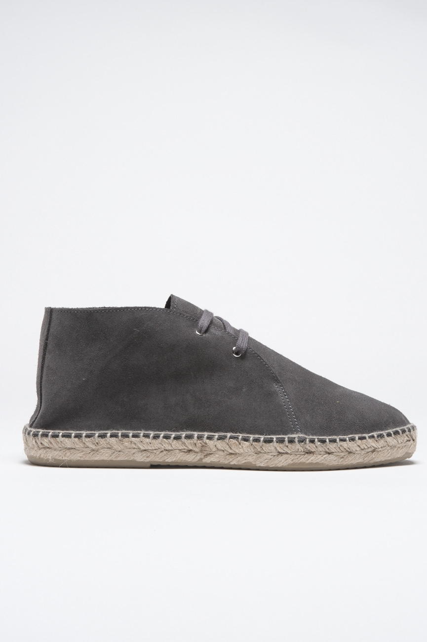 SBU - Strategic Business Unit - Original Suede Leather Lace Up Espadrilles Rubber Sole Grey