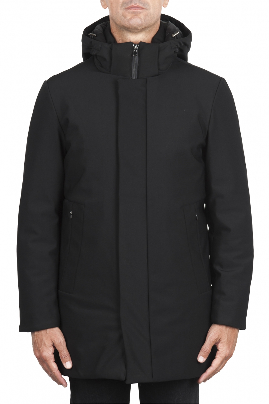 SBU 02936_2020AW Black thermic waterproof long parka 01
