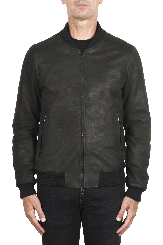 SBU 02942_2020AW Black nubuck leather lined bomber jacket 01