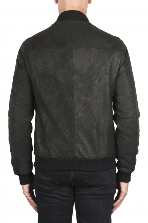 SBU 02942_2020AW Black nubuck leather lined bomber jacket 01