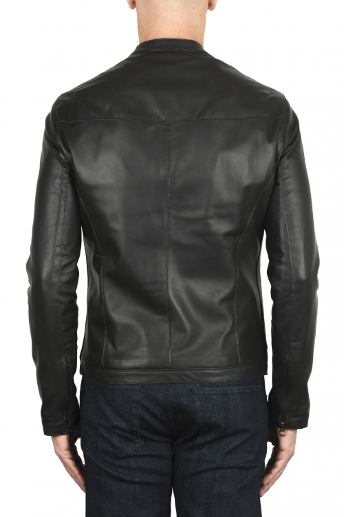SBU 02943_2020AW Giacca da motociclista in pelle nera  01