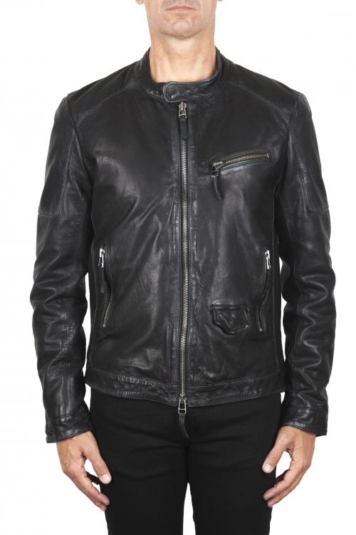 SBU 02944_2020AW Padded black leather biker jacket 01