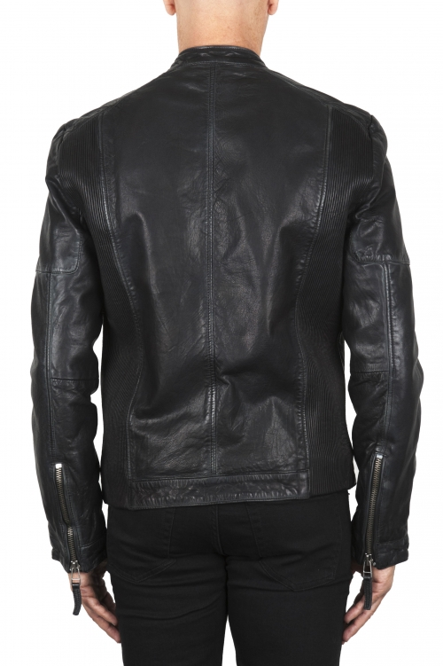 SBU 02944_2020AW Padded black leather biker jacket 01