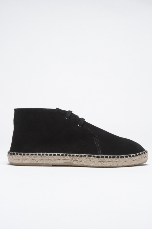 SBU - Strategic Business Unit - Original Suede Leather Lace Up Espadrilles Rubber Sole Black