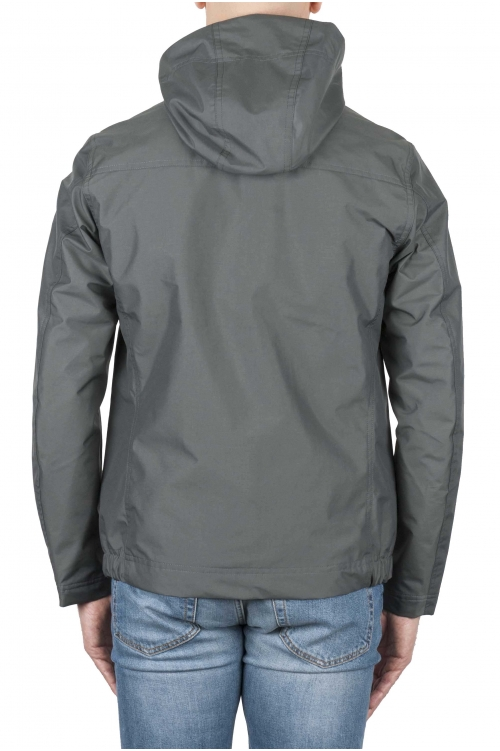 SBU 02951_2020AW Coupe-vent à capuche imperméable technique gris 01