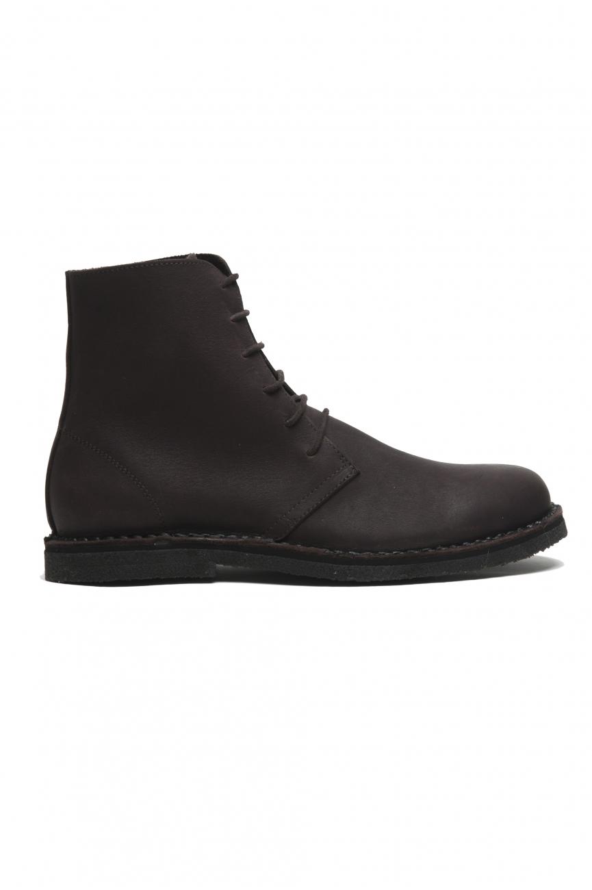 SBU 02954_2020AW Desert boots montantes classiques en cuir de veau ciré marron 01