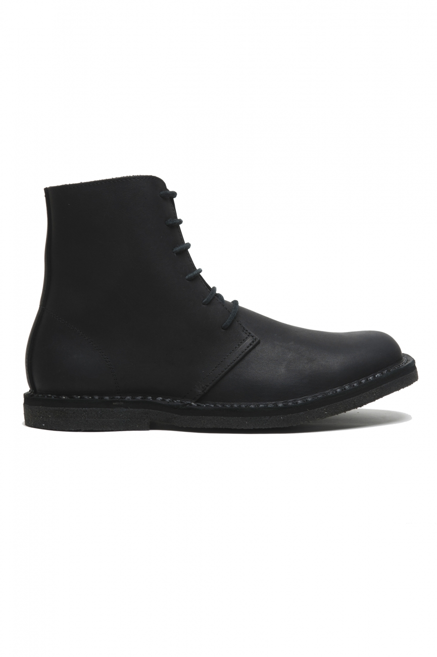 SBU 02955_2020AW Classic high top desert boots in black waxed calfskin leather 01